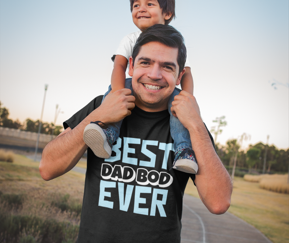 Father with son on shoulders wearing a best dad bod ever t-shirt
