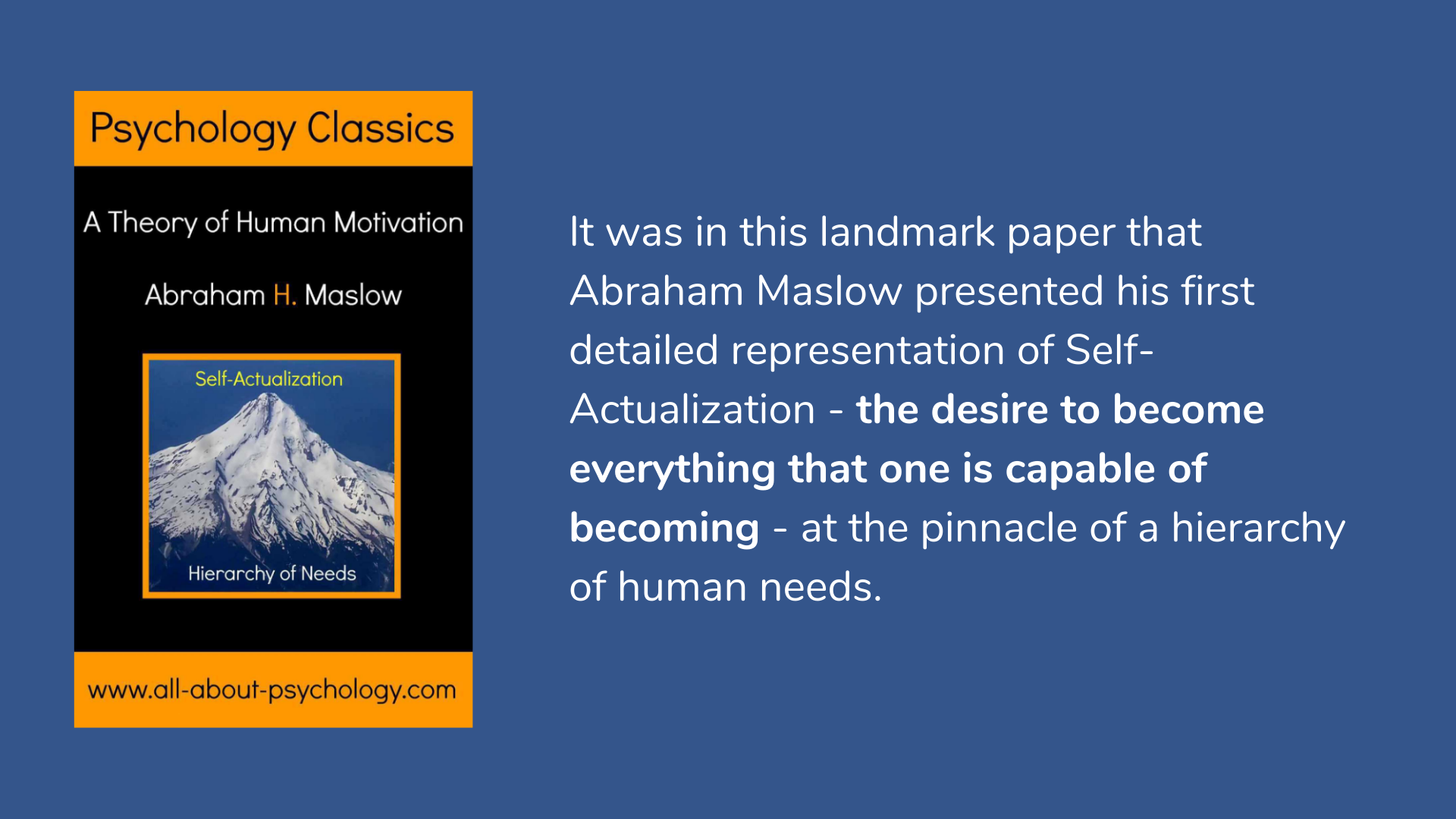 Hierarchy of Needs: A Theory of Human Motivation by Abraham Maslow Book Cover and Description