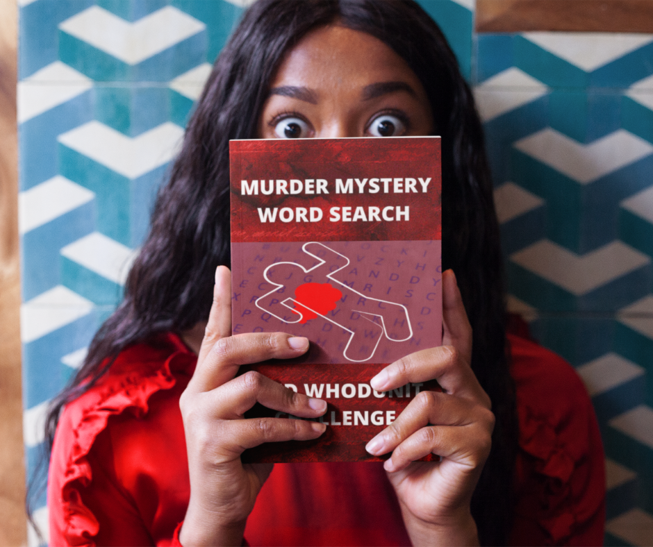 Woman holding Murder Mystery Word Search and Whodunit Challenge book