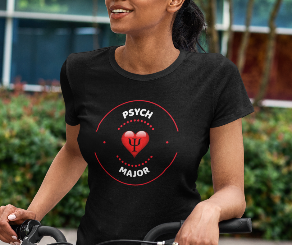 Young woman wearing a psych major t-shirt.