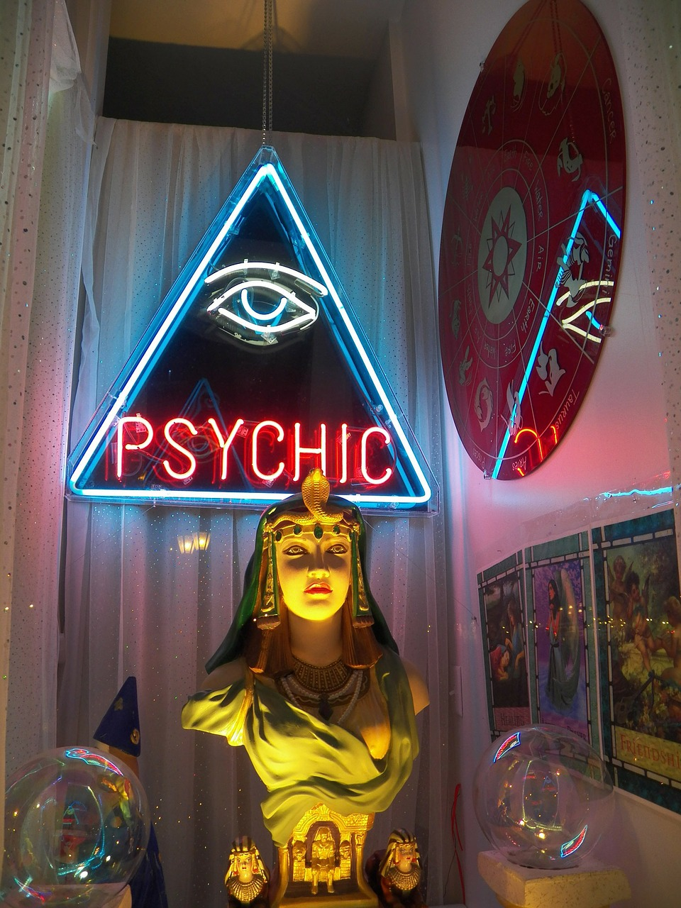 Psychic sign and paraphernalia.
