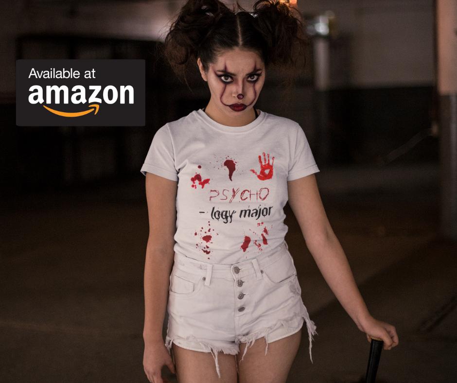 Young Woman Wearing Psychology Major Halloween T-Shirt