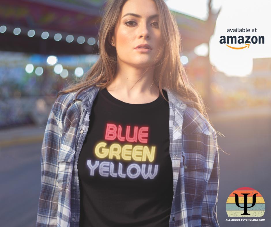 Woman Wearing Stroop Effect T-Shirt