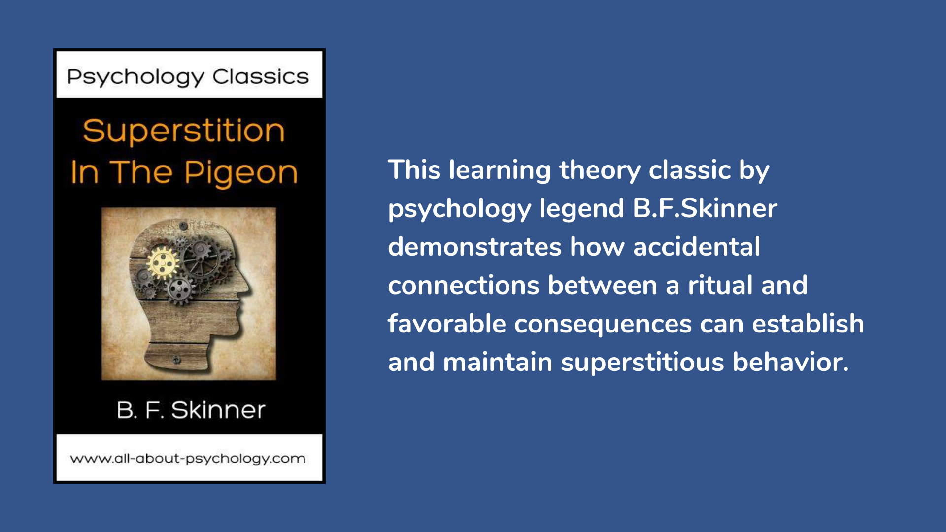 Superstition in The Pigeon by psychology legend B. F. Skinner