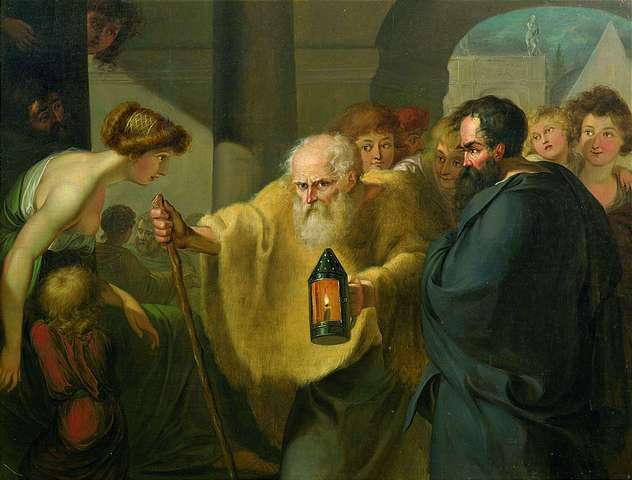 Painting of Greek philosopher Diogenes looking for an honest man