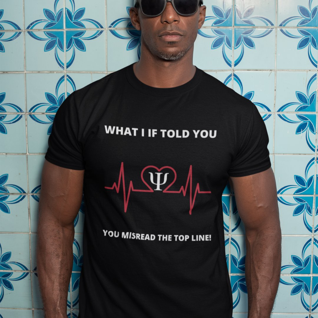 Man wearing cognitive psychology t-shirt.