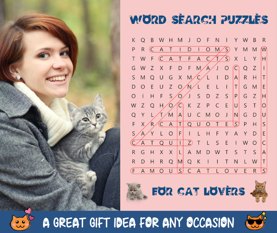 Word Search Puzzles For Cat Lovers Book Cover