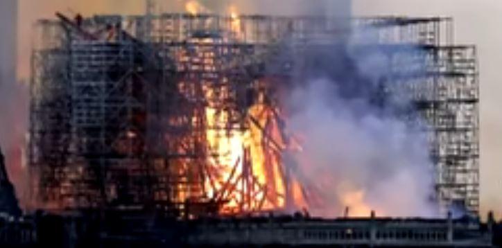 Jesus Christ Amid Flames of Notre Dame