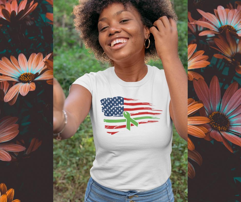 Woman wearing Mental Health Awareness - Green Ribbon - USA Flag T-Shirt