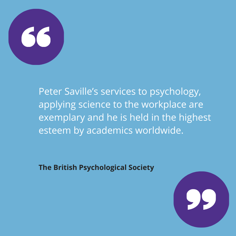 British Psychological Society quote about modern psychology pioneer, Professor Peter Saville.